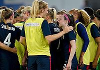ORLANDO, FL - MARCH 05: Samantha Mewis #3 and Rose Lavelle #16 of USA have a few words during a game between England and USWNT at Exploria Stadium on March 05, 2020 in Orlando, Florida.