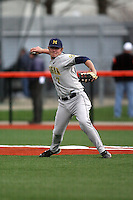 April 11, 2008:  University of Michigan Wolverines infielder Mike Dufek (6) against the University of Illinois Fighting Illini at Illinois Field in Champaign, IL.  Photo by:  Chris Proctor/Four Seam Images
