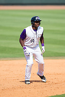 Courtney Hawkins (10) of the Winston-Salem Dash takes his lead off of second base against the Frederick Keys at BB&T Ballpark on May 18, 2014 in Winston-Salem, North Carolina.  The Dash defeated the Keys 7-6.  (Brian Westerholt/Four Seam Images)