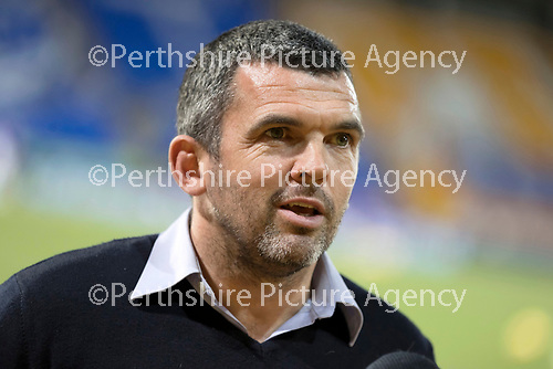 St Johnstone v Dundee United…10.11.20   McDiarmid Park      BetFred Cup<br />Saints boss Callum Davidson talks to the BBC before kick off<br />Picture by Graeme Hart.<br />Copyright Perthshire Picture Agency<br />Tel: 01738 623350  Mobile: 07990 594431