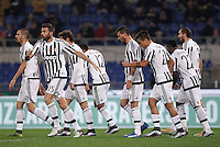 Calcio, Serie A: Lazio vs Juventus. Roma, stadio Olimpico, 4 dicembre 2015.<br /> Juventus' players celebrate after Lazio's Santiago Gentiletti scored an own goal during the Italian Serie A football match between Lazio and Juventus at Rome's Olympic stadium, 4 December 2015.<br /> UPDATE IMAGES PRESS/Isabella Bonotto