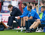 Dundee v St Johnstone...15.08.15  SPFL   Dens Park, Dundee<br /> Tommy Wright can't bear to watch as his side go 2 goals down<br /> Picture by Graeme Hart.<br /> Copyright Perthshire Picture Agency<br /> Tel: 01738 623350  Mobile: 07990 594431
