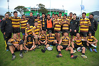 The Porirua team poses for a group photo after the 2017 Hurricanes Secondary Schools girls rugby union final between Manukura College and St Mary's College at Arena Manawatu in Palmerston North, New Zealand on Saturday, 2 September 2017. Photo: Dave Lintott / lintottphoto.co.nz
