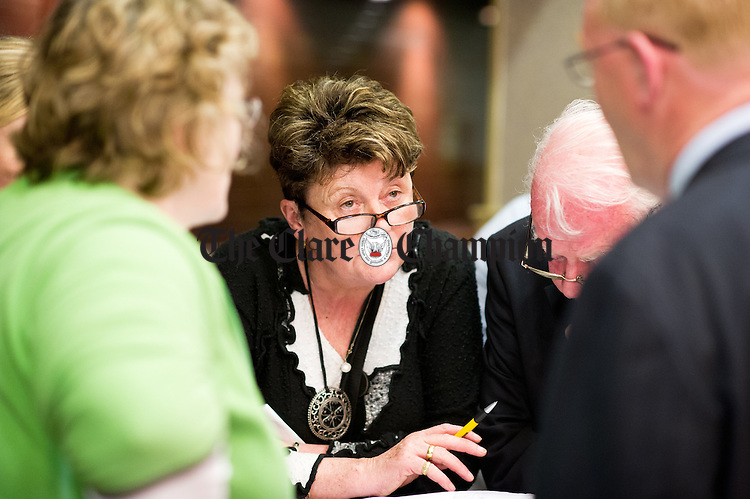 Bridget Garry, wife of Fine Gael's Oliver Garry during the election count at The West county Hotel, Ennis. Photograph by John Kelly.