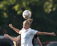Boston Breakers midfielder Leslie Osborne (12) battles for head ball. In a Women's Premier Soccer League Elite (WPSL) match, the Boston Breakers defeated New York Fury, 2-0, at Dilboy Stadium on June 23, 2012.