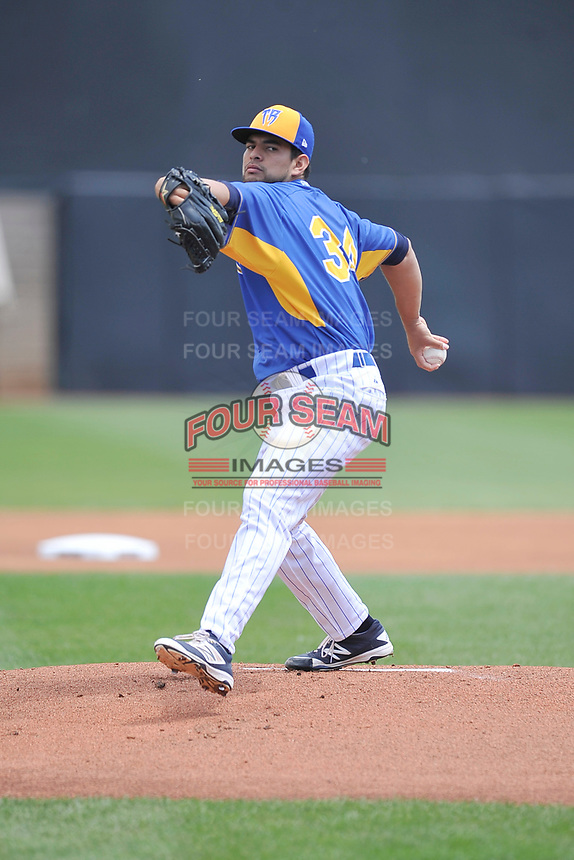 Wisconsin Timber Rattlers starting pitcher Victor Diaz (34) throws during a game against the Quad Cities River Bandits at Fox Cities Stadium on June 27, 2017 in Appleton, Wisconsin.  Wisconsin lost 6-5.  (Dennis Hubbard/Four Seam Images)