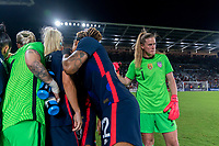 ORLANDO, FL - MARCH 05: Alyssa Naeher #1 of the United States stands in the USWNT huddle during a game between England and USWNT at Exploria Stadium on March 05, 2020 in Orlando, Florida.