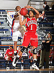 Nicholls State University Colonels guard Sumar Leslie (1) grabs a rebound  in the game between the UTA Mavericks and the  Nicholls State University Colonels  held at the University of Texas in Arlington's Texas Hall in Arlington, Texas. UTA defeats Nicholls 69 to 62