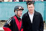Calvin Borel talks with Owner and Trainer Ron Moquett.