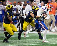 Atlanta, Georgia - December 29, 2018: Mercedes Benz Stadium, the number 10 ranked Florida Gators play the number 7 ranked Michigan Wolverines in the Peach Bowl.  Final score Florida 41, Michigan 15.