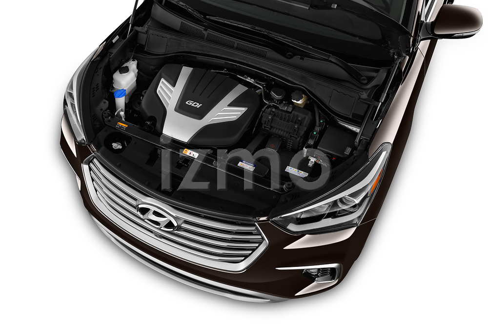 Car Stock 2018 Hyundai Santa-Fe Limited-Ultimate-FWD 5 Door SUV Engine  high angle detail view