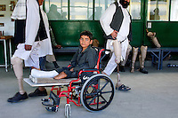 Kabul, Afghanistan 2007. Child with landmine injury at Red Cross Rehabilitation Center, Kabul, Afghanistan 2007