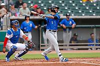 Biloxi Shuckers third baseman Lucas Erceg (1) belts a home run against the Tennessee Smokies on May 18, 2021, at Smokies Stadium in Kodak, Tennessee. (Danny Parker/Four Seam Images)