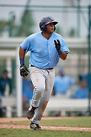 Tampa Bay Rays first baseman Devin Davis (52) runs to first base during an Instructional League game against the Pittsburgh Pirates on October 3, 2017 at Pirate City in Bradenton, Florida.  (Mike Janes/Four Seam Images)