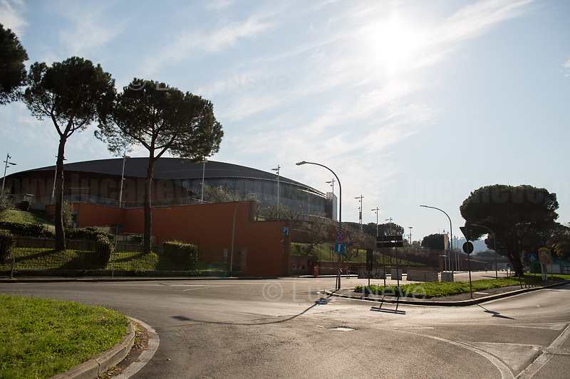 Auditorium Parco della Musica (by Renzo Piano)<br /> <br /> Rome, 18/03/2020. Rome's Olympic Village district under the Italian Government lockdown for the Outbreak of the Coronavirus SARS-CoV-2 - COVID-19. On 22 March, the Italian PM Giuseppe Conte signed a new Decree Law which suspends non-essential industry productions and contains the list of allowed working activities, which includes Pharmaceutical & food Industry, oil & gas extraction, clothes & fabric, tobacco, transports, postal & banking services (timetables & number of agencies reduced), delivery, security, hotels, communication & info services, architecture & engineer, IT manufacturers & shops, call centers, domestic personnel (1.).<br /> Updates: Italy: 22.03.20, 6:00PM: 46.638 positive cases; 7.024 recovered; 5.476 died.<br /> <br /> The Rome's Olympic Village (1957-1960) was designed by: V. Cafiero, A. Libera, A. Luccichenti, V. Monaco, L. Moretti. «Built to host the approximately 8,000 athletes involved in the 1960 Olympic Games, Rome's Olympic Village is a residential complex located between Via Flaminia, the slopes of Villa Glori and Monti Parioli. It was converted into public housing [6500 inhabitants, ndr] at the end of the sporting event. The intervention is an example of organic settlement, characterized by a strong formal homogeneity, consistent with the Modern Movement's principles of urbanism. The different architectural structures are made uniform by the use of some common elements: the pilotis, ribbon windows, concrete stringcourses, and yellow brick curtain covering. At the center of the neighborhood, the Corso Francia viaduct - a road bridge about one kilometer long - was built by P.L. Nervi[…]» (2.).<br /> <br /> Info COVID-19 in Italy: http://bit.do/fzRVu (ITA) - http://bit.do/fzRV5 (ENG)<br /> 1. March 22nd Decree Law http://bit.do/fFwJn (ITA)<br /> 2. (Atlantearchitetture.beniculturali.it MiBACT, ITA - ENG) http://bit.do/fFw3H<br /> 12.03.20 Rome's Lockdown for the Outbreak of the Cor
