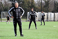 Thursday 11 April 2013<br /> Pictured L-R: Alan Curtis, Michale Laudrup and Erik Larsen.<br /> Re: Friendly game, Swansea City FC coaching staff v sports reporters at the Swansea City FC training ground. Final score 10-4.