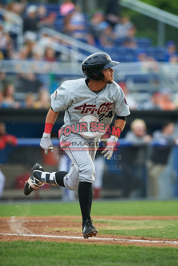 Tri-City ValleyCats second baseman Kristian Trompiz (24) runs to first base during a game against the Batavia Muckdogs on July 14, 2017 at Dwyer Stadium in Batavia, New York.  Batavia defeated Tri-City 8-4.  (Mike Janes/Four Seam Images)