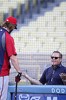 Washington Nationals outfielder Jayson Werth #28 talks with baseball player agent Scott Boras before a game against the Los Angeles Dodgers at Dodger Stadium on July 23, 2011 in Los Angeles,California. Los Angeles defeated Washington 7-6.(Larry Goren/Four Seam Images)