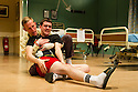 London, UK. 28.09.2012. OUR BOYS, by Jonathan Lewis, directed by David Grindley, opens at the Duchess Theatre. Picture shows: Laurence Fox (Joe) and Cian Barry (Keith).  Photo credit: Jane Hobson.