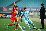Jiangsu FC Midfielder Xie Pengfei (R) fights for the ball with Adelaide United Defender Michael Marrone (L) during the AFC Champions League 2017 Group H match between Jiangsu FC (CHN) vs Adelaide United (AUS) at the Nanjing Olympics Sports Center on 01 March 2017 in Nanjing, China. Photo by Marcio Rodrigo Machado / Power Sport Images