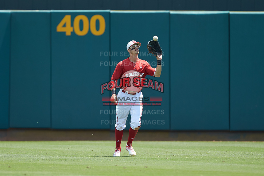 North Carolina State Wolfpack center fielder Josh McLain (15) catches a fly ball during the game against the Army Black Knights at Doak Field at Dail Park on June 3, 2018 in Raleigh, North Carolina. The Wolfpack defeated the Black Knights 11-1. (Brian Westerholt/Four Seam Images)