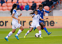 HOUSTON, TX - JANUARY 31: Gabriela Guillen #2 of Costa Rica fights for the ball with Melchie Dumonay #6 of Haiti during a game between Haiti and Costa Rica at BBVA Stadium on January 31, 2020 in Houston, Texas.