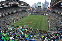 SEATTLE, WA - NOVEMBER 10: A general view of a Toronto FC corner kick during a game between Toronto FC and Seattle Sounders FC at CenturyLink Field on November 10, 2019 in Seattle, Washington.