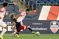 FOXBOROUGH, MA - SEPTEMBER 04: Ryo Shimazaki #31 of New England Revolution II kicks the ball out to keep Paulo Junior #11 Forward Madison FC from advancing with it during a game between Forward Madison FC and New England Revolution II at Gillette Stadium on September 04, 2020 in Foxborough, Massachusetts.