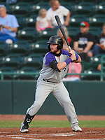 Evan Skoug (9) of the Winston-Salem Dash during a game against the Hickory Crawdads on May 11, 2021 at L.P. Frans Stadium in Hickory, North Carolina. (Tracy Proffitt/Four Seam Images)