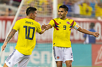 Tampa, FL - Thursday, October 11, 2018: James Rodriguez, Radamel Falcao, Goal celebration during a USMNT match against Colombia.  Colombia defeated the USMNT 4-2.