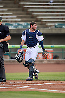 Lynchburg Hillcats catcher Logan Ice (20) during the first game of a doubleheader against the Potomac Nationals on June 9, 2018 at Calvin Falwell Field in Lynchburg, Virginia.  Lynchburg defeated Potomac 5-3.  (Mike Janes/Four Seam Images)