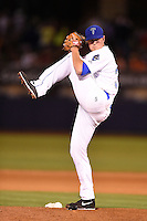 Tulsa Drillers pitcher Scott Oberg (34) delivers a pitch during a game against the Midland RockHounds on May 30, 2014 at ONEOK Field in Tulsa, Oklahoma.  Tulsa defeated Midland 7-1.  (Mike Janes/Four Seam Images)