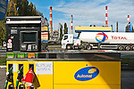 A Total truck passes by an empty gas station on October 22, just in front of the Grandpuits refinery, which has been blocked for a week. All of the country's refineries have been stopped and gas shortage affected most of France, forcing the Government to tap the strategic reserves for the first time since May 68..____________________________________________.2010 in France was marked by one of the largest social crisis as millions took to the streets during 3 months to oppose Sarkozy Government's reform of the pension law. The country came close to a standstill in October with gasoline shortage but before Christmas, the law was passed.