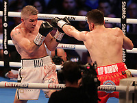 9th October 2021; M&S Bank Arena, Liverpool, England; Matchroom Boxing, Liam Smith versus Anthony Fowler; LIAM SMITH (Liverpool, England)jabbed by ANTHONY FOWLER (Liverpool, England) during their WBA International Super-Welterweight Title contest