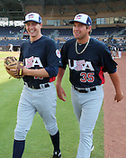 Corey Knebel (11) and Brian Johnson (35) share a laugh during warmups for Game 3 of the annual Collegiate Friendship Series between Team USA and Japan on Tuesday, July 5, 2011. Photo by Al Drago.