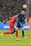Endo Wataru of Japan (R) in action during the AFC Asian Cup UAE 2019 Group F match between Oman (OMA) and Japan (JPN) at Zayed Sports City Stadium on 13 January 2019 in Abu Dhabi, United Arab Emirates. Photo by Marcio Rodrigo Machado / Power Sport Images