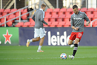 WASHINGTON, DC - MAY 13: Frederic Brilliant #13 of D.C. United warming up during a game between Chicago Fire FC and D.C. United at Audi FIeld on May 13, 2021 in Washington, DC.