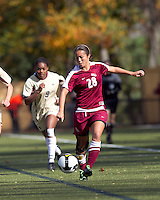 Florida State midfielder Rachel Lim (28) brings the ball forward. Florida State University defeated Boston College, 1-0, at Newton Soccer Field, Newton, MA on October 31, 2010.