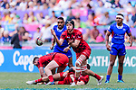 Cai Devine of Wales (R) in action during the HSBC Hong Kong Sevens 2018 Shield Final match between Samoa and Wales on April 8, 2018 in Hong Kong, Hong Kong. Photo by Marcio Rodrigo Machado / Power Sport Images