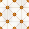 Orion, a waterjet stone mosaic, shown in polished Thassos and Xanadu, is part of the Trove Collection for New Ravenna.