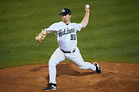 Stetson Hatters starting pitcher Adam Schaly (50) delivers a pitch during a game against the Siena Saints on February 23, 2016 at Melching Field at Conrad Park in DeLand, Florida.  Stetson defeated Siena 5-3.  (Mike Janes/Four Seam Images)