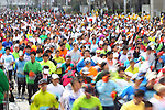Feb. 27, 2011 - Tokyo, Japan - Thousands of runners fill the streets in front of the Tokyo Metropolitan Government Building where the starting point of the Tokyo Marathon begins. (Photo by Daiju Kitamura/AFLO SPORT)