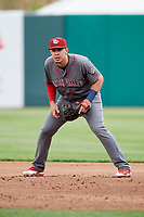 Lehigh Valley IronPigs first baseman Joey Meneses (38) during a game against the Syracuse Chiefs on May 20, 2018 at NBT Bank Stadium in Syracuse, New York.  Lehigh Valley defeated Syracuse 5-2.  (Mike Janes/Four Seam Images)
