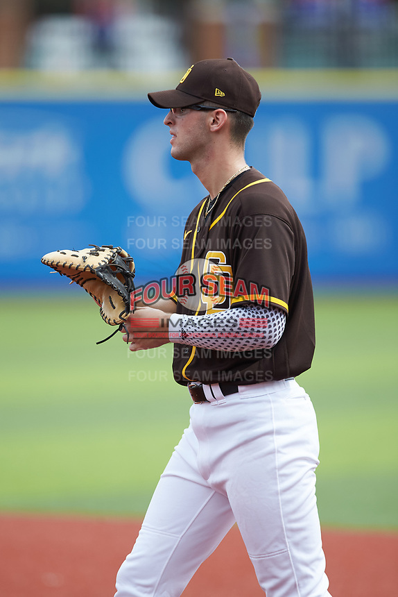 First baseman Bobby Marsh (25) of Bellefonte Area High School (PA) playing for the San Diego Padres scout team during game five of the South Atlantic Border Battle at Truist Point on September 27, 2020 in High Pont, NC. (Brian Westerholt/Four Seam Images)