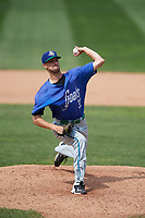 Hartford Yard Goats relief pitcher Will Lamb (33) delivers a pitch during a game against the Erie SeaWolves on August 6, 2017 at UPMC Park in Erie, Pennsylvania.  Erie defeated Hartford 9-5.  (Mike Janes/Four Seam Images)