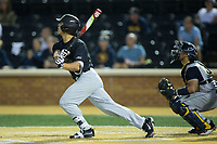 Stuart Fairchild (4) of the Wake Forest Demon Deacons watches the flight of his second home run of the game against the West Virginia Mountaineers in Game Six of the Winston-Salem Regional in the 2017 College World Series at David F. Couch Ballpark on June 4, 2017 in Winston-Salem, North Carolina.  The Demon Deacons defeated the Mountaineers 12-8.  (Brian Westerholt/Four Seam Images)