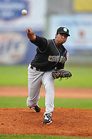 Duane Underwood #29 of the Kane County Cougars throws against the Clinton LumberKings at Ashford University Field on July 5, 2014 in Clinton, Iowa. The Cougars won 4-0.   (Dennis Hubbard/Four Seam Images)
