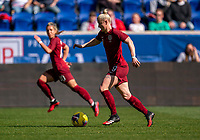 HARRISON, NJ - MARCH 08: Bethany England #9 of England dribbles during a game between England and Japan at Red Bull Arena on March 08, 2020 in Harrison, New Jersey.