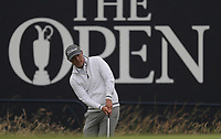 12th July 2021; The Royal St. George's Golf Club, Sandwich, Kent, England; The 149th Open Golf Championship, practice day; Matt Jones (USA) pitches the ball onto the 18th green