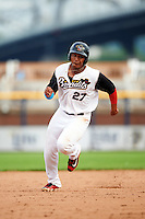 Quad Cities River Bandits first baseman Dexture McCall (27) running the bases during a game against the Bowling Green Hot Rods on July 24, 2016 at Modern Woodmen Park in Davenport, Iowa.  Quad Cities defeated Bowling Green 6-5.  (Mike Janes/Four Seam Images)